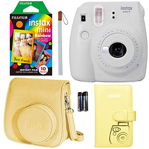Fujifilm Instax Mini 9 Instant Camera - Smokey White, Fujifilm Rainbow Instant Mini Film, Fujifilm Instax Groovy Camera Case - White and Fujifilm INSTAX Wallet Album - Yellow (Best Polaroid Like Camera)