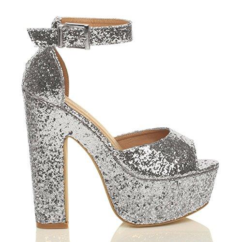 tacco taglia Argento festa sandali Donna punta scarpe aperta Scintillio alto piattaforma elegante g6xwxvdU
