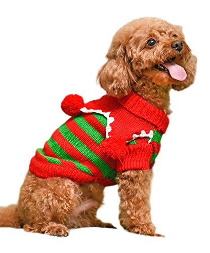 PAWZ Road Cute Pet Christmas Sweater Stripe Design Dog Clothes Puppy Sweater Fashion Clothing for Dogs & Cats XXS