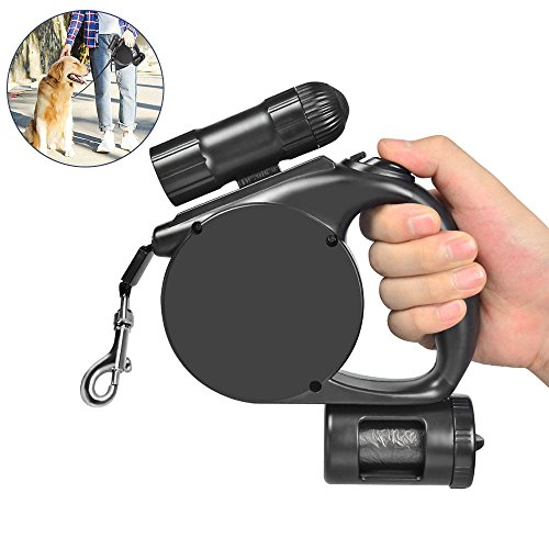 Retractable Dog Leash 14.8ft Bright Flashlight and Poo Bag Dispenser for Small to Medium Dogs Up to 44lb Extendable Dog Lead for Training/Walking/Jogging Black (Dog Leash Retractable Flashlight)