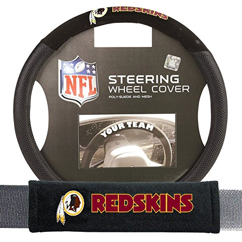Fremont Die FMT-93107 Washington Redskins NFL Steering Wheel Cover and Seatbelt Pad Auto Deluxe Kit - 2 Pc (Nfl Automotive Fan Kit)