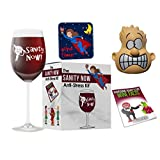 Funny Wine Gift - Sanity Now Anti-Stress Kit. Fun Gag Gifts for Women or Men.Great Funny Wine Glasses Kit in a Comical Gift Box