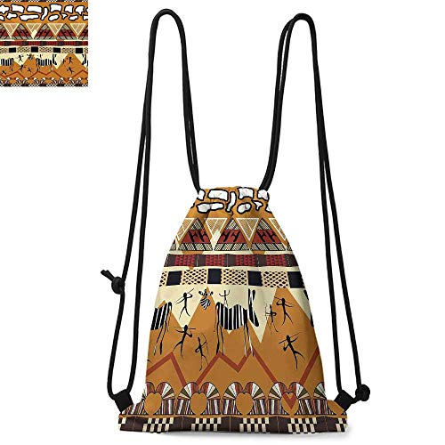 Fendi Zebra - Primitive Printed drawstring backpack Tribal Ethnic African Hunting Zebra Spear Arrow Prehistoric Tribe Life Theme Suitable for school or travel W17.3 x L13.4 Inch Ruby Mustard