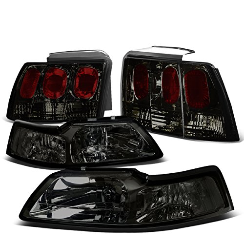 For Ford Mustang Pair of Smoked Housing Clear Corner Headlight + Smoked Lens Altezza Style Tail - Lights Tail Smoked Mustang
