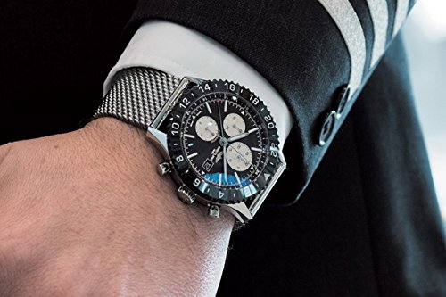 Mens Breitling Chronoliner Chronograph 2nd Time Zone Mesh Steel Bracelet Y2431012/BE10