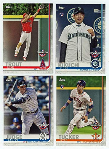 2019 Topps Opening Day Baseball Series Complete Mint 200 Card Set with Rookies and Stars including Bryce Harper, Mike Trout, Aaron Judge, Yusei Kikuchi and Kyle Tucker Plus