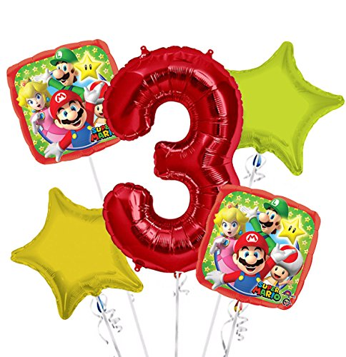 Super Mario Balloon Bouquet 3rd Birthday 5 pcs - Party (1939 Bouquet)