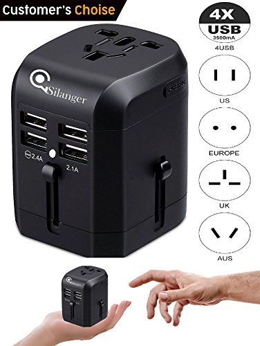 Universal USB Travel Power Adapter-Silanger All In One Wall Charger AC Power Plug Adapter For USA EU UK AUS Cell Phone Laptop Including Quad 3.5A Smart Power USB Charging Port (4X USB) by Silanger