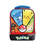 Pokemon Pikachu Insulated Dual Compartment Lunch Tote with Handle measures 7.5 inches W x 9.0 inches H x 5.0 inches Deep