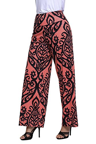Nicetage Femmes Grande Taille Floral Imprim Pantalons Jambe Large Palazzo Yoga Pantalon Rouge Fonc