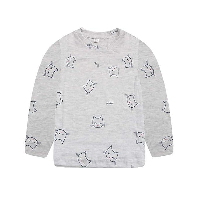 JYC Camisetas de Manga Larga para Niña,Manga Larga para Niños,Niñito Niños Bebé Niña Chicos Largo MangaTira Dibujos Animados Impresión Camiseta Tops: ...