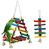 MEWTOGO Small Bird Parrot Toys Hanging Ladder Cockatiel Wooden Bridge - Conure Toy With Flexible Swings for Small Birds 2 packs