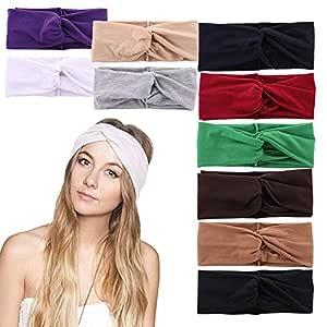 10 Pack Women Headband Head Wrap Hair Band Yoga Running Sports Cotton Headbands Elastic Non Slip Sweat Headbands Workout Fashion Hair Bands for Girls (set1)