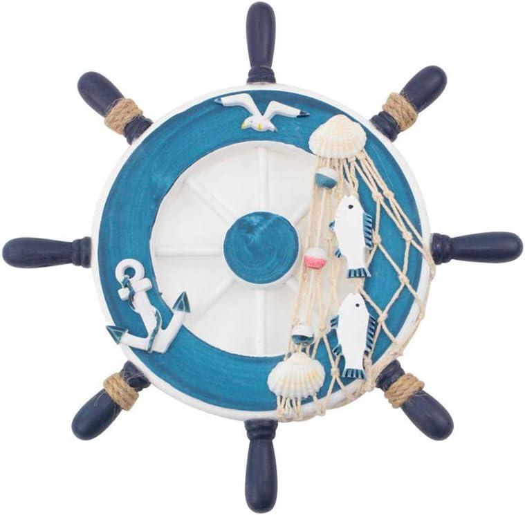 Hooshing Nautical Decor Wooden Boat Ship Steering Wheel Fishing Net Shell Rudder Wall Decor for Home Bedroom Blue