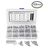 304 Stainless Steel Bolts and Nuts, M2 M3 M4 Hex Socket Head Cap Screws Nuts 535 PCS for Crib Bunk Bed Furniture Cot, Metric Bolt Nut Assortment Kit Barrel Bolt Nuts, 3 Hex Keys for Free