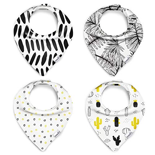 PUTSKA Unisex Baby Bandana Drool Bibs Set 4-Pack 100% Organic Cotton GOTS Certified Hypoallergenic for Boys and Girls Highly Absorbent for Drooling and Teething Ideal Baby Shower Gift
