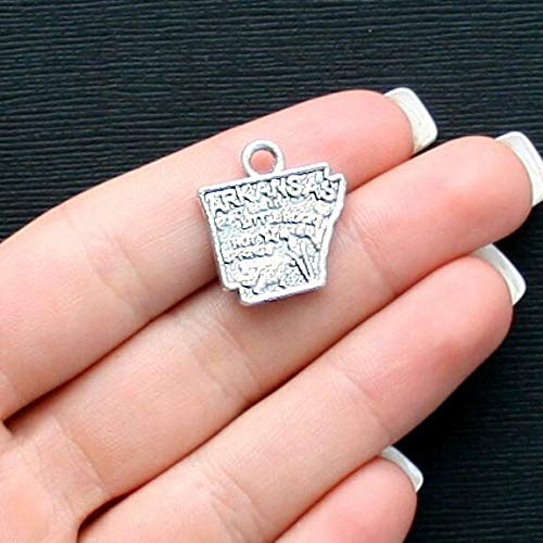 (8 Arkansas State Charms Antique Silver Tone Fantastic Details Jewelry Making Supply Pendant Bracelet DIY Crafting by Wholesale Charms)