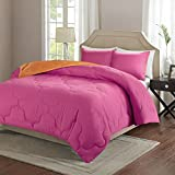 Comfort Spaces Vixie Reversible Goose Down Alternative Comforter Mini Set - 3 Piece – Pink and Orange – Stitched Geometrical Pattern – Full/Queen size, includes 1 Comforter, 2 Shams