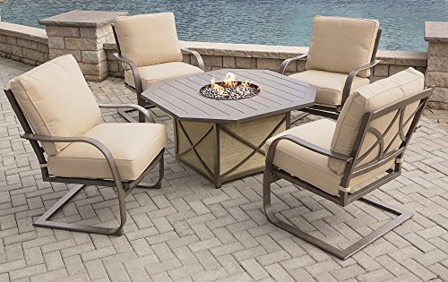 Oakland Living AZ8299GST-8657SC4-5-ET Propane Wood Aluminum Slat Grey Hexagonal Fire Table Set, One Size, Earth - Irregular Octagon