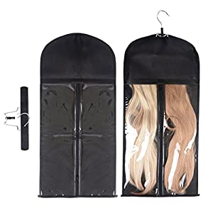 Modpion Hair Extension Hanger Double Side Anti-slip Hair Extension Holder with Portable Protection Suit Bag (Black)