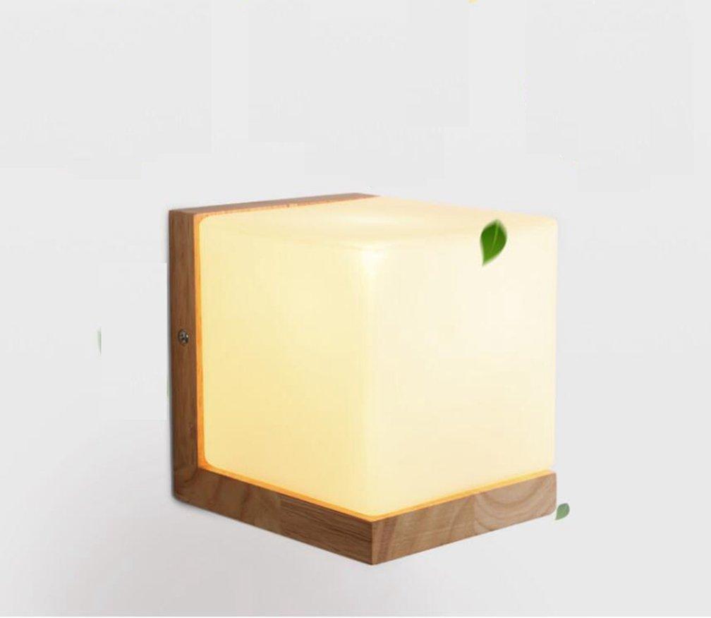 MSAJ Corridoio semplice soggiorno Legno Massello Lampada da parete LED Camera da letto testiera di vetro della lampada a parete