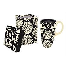 Extracts Black Plume Pattern Ceramic Latte Travel Mug With Gift Box