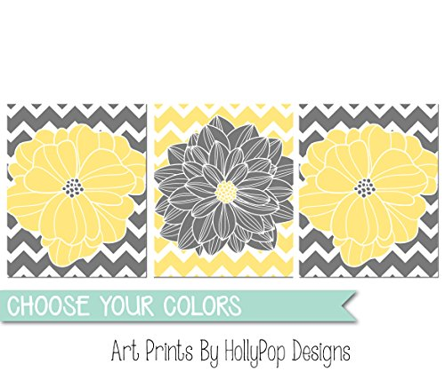 (Yellow gray wall art Floral burst home decor Flowers and Chevron Dahlia pictures Bedroom wall art Modern bathroom wall art Set of 3 Prints #1064)
