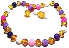 Adult Amelie Honey Baltic Amber Pink Purple Dragon Agate Anklet Love Amber x