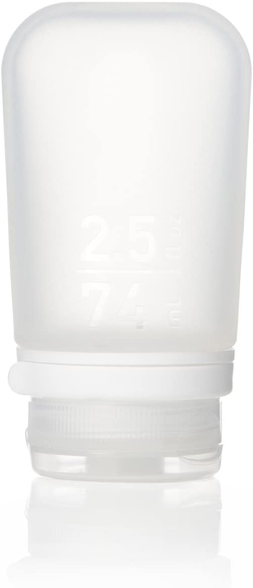 humangear GoToob+ Silicone Travel Bottle with Locking Cap, Medium (2.5oz), Clear