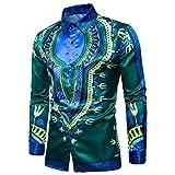 Doufine Men's Tops Colortone Vogue African Dashiki Turn Down Collar Shirt Green XS