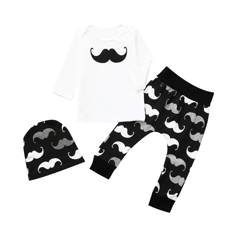1abbb69a8 Amazon.com: Yalasga Infant Baby Girl Boy Long Sleeve Mustache Print  Pullover Tops + Pants+Hat Outfit Newborn Year Clothes: Clothing