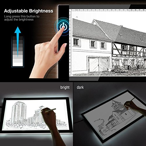 Dreamyth A4 Ultra-thin LED Light Box Tracer USB Cable Dimmable Brightness Light Box For Drawing Sketching (White) -