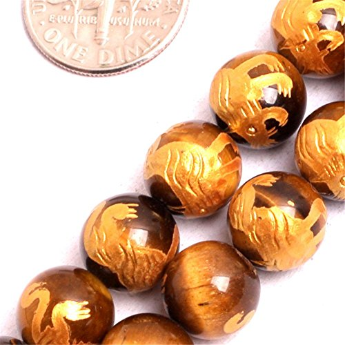 (GEM-inside Yellow Tiger Eye Gemstone Loose Beads Natural 10mm Round Baihu Tiger Mala Crystal Energy Stone Power For Jewelry Making 15