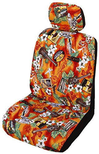 Winnie Fashion Set of 2 - Side Airbag Compatible; Orange Kona Music Hawaiian Separate Headrest Cover; Made in Hawaii