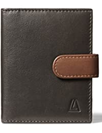Men's 100% Leather Tabbed Card Holder with RFID Blocking