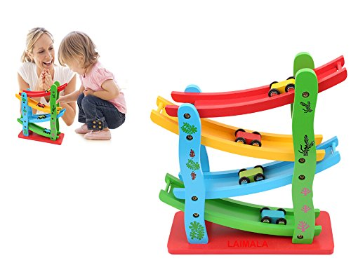 Wooden Ramp (LAIMALA 4 Level Ramp Racer Toy Kids Wooden Ladder Gliding Car Toys with 4 Small Cars)