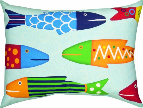 Manual Woodworkers & Weavers Climaweave Indoor/Outdoor Decorative Throw Pillow, 24 by 18-Inch, Missy Fishy School