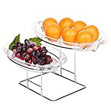 2 Tier Clear Kitchen Serveware, Party Serving Platter Tray with Stainless Steel Rack