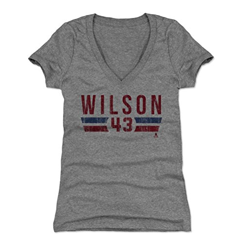 500 LEVEL Tom Wilson Women's V-Neck Shirt (Medium, Tri Gray) - Washington Capitals Shirt for Women - Tom Wilson Font R