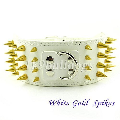 Diamond Patterned Tie (White Gold Spike 3inch Wide (7 Colors) New Styles Spiked Studded PU Leather Dog Care Collars Pitbull Size :)