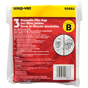Shop-Vac 90668 2-2.5 Gallon Type B All Around Collection Bag, 3-Pack