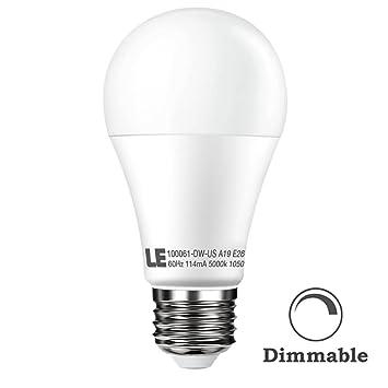 Lighting EVER Le regulable A19 LED bombillas, bombillas incandescentes de repuesto, blanco cálido, E26 tamaño mediano Base Luz LED bombillas: Amazon.es: ...