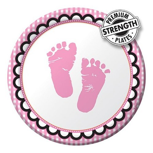 8-Count Round Paper Dessert Plates, Sweet Baby Feet Pink