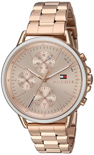 Tommy Hilfiger White Wrist Watch (Tommy Hilfiger Women's 'Sport' Quartz Gold Casual Watch(Model: 1781788))