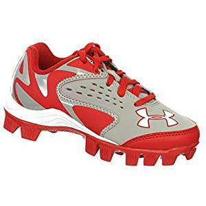 UNDER ARMOUR LEADOFF LOW RM JR GREY / RED YOUTH MOLDED BASEBALL CLEATS 11K