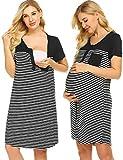 Ekouaer Nursing Nightgown Woman Short Sleeve Sleepshirts Casual Scoop Neck Maternity Lounge Dress,Black, Large