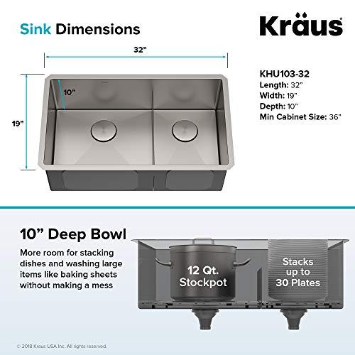 Kraus KHU103-32 Standart PRO Kitchen Sink, 32, 60/40 Double Bowl