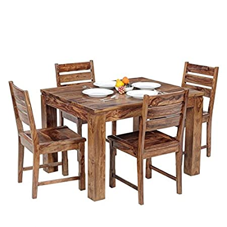 Ringabell Modish Solid Wood Four Seater Dining Table (Natural Teak Finish)