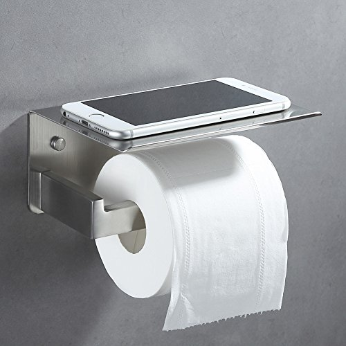 Toilet Paper Holder with Phone Shelf, APLusee SUS304 Stainless Steel Modern Kitchen Bathroom Accessories Tissue Holder Wet Wipes Storage Rack Paper Towel Dispenser (Brushed Nickel)