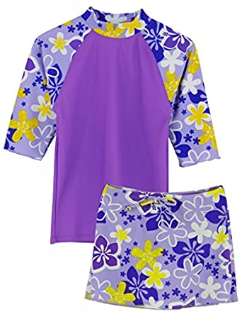 UPF 50 Sun Protection Swim Suit Tuga Girls Three-Piece Bathing Suit 2-14 Years